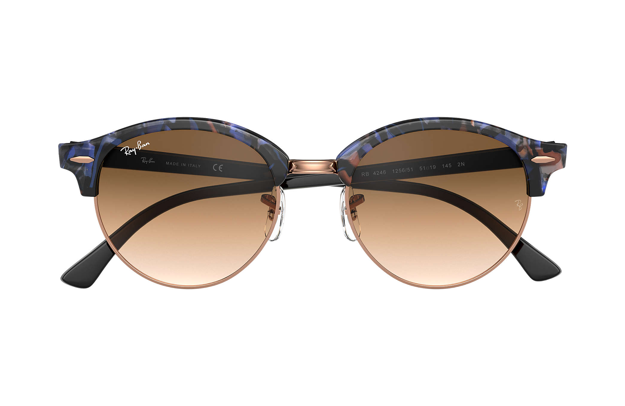 2d0ed031fd ... Ray-Ban 0RB4246-CLUBROUND FLECK Spotted Brown and Blue,Carey; Negro SUN  ...