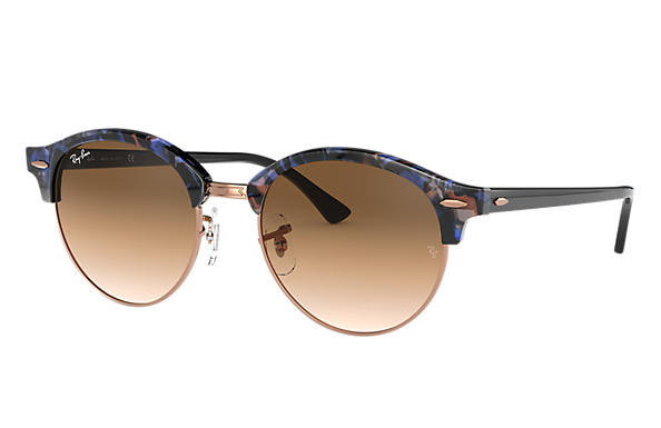 ce2ce2e5e5 Ray-Ban Clubround Fleck RB4246 Spotted Brown and Blue - Acetate ...
