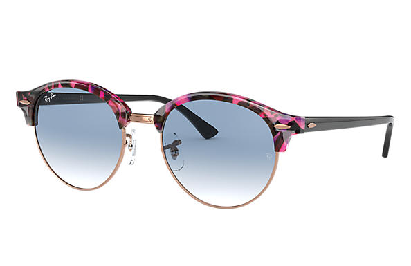 Ray-Ban Gafas-de-sol CLUBROUND FLECK Spotted Grey and Violet con lente Azul claro Degradada