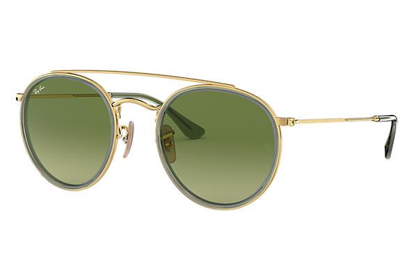 91566141049 Ray-Ban Round Double Bridge RB3647N Gold - Metal - Green Lenses ...