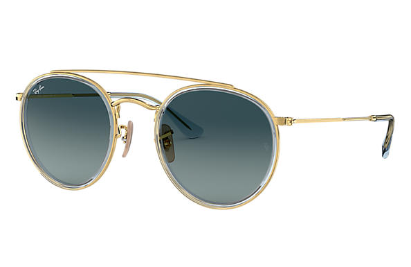 Ray-Ban Sunglasses ROUND DOUBLE BRIDGE Gold with Blue Gradient lens