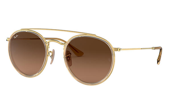 Ray-Ban Sunglasses ROUND DOUBLE BRIDGE Gold with Brown Gradient lens