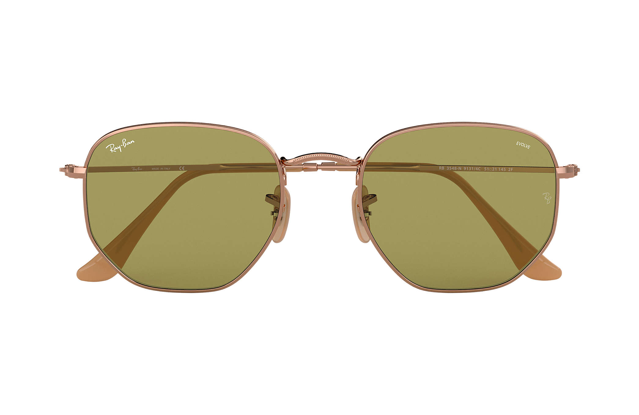 Ray Ban Hexagonal Washed Evolve RB3548N Rame Metallo