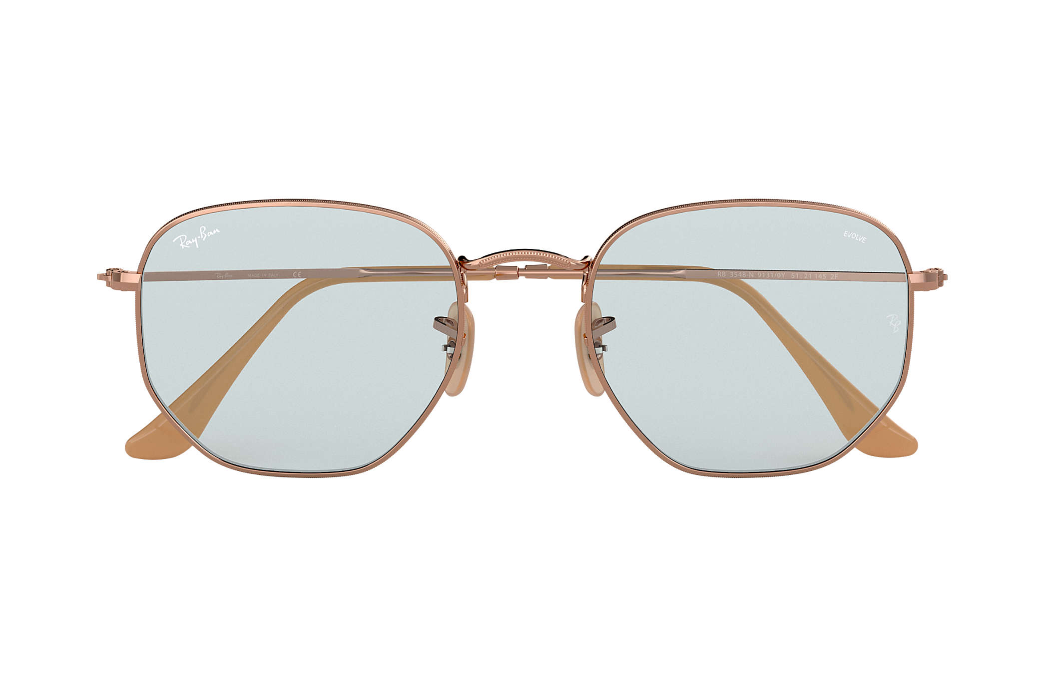 fb65edb01c0a2 Ray-Ban Hexagonal Evolve RB3548N Copper - Metal - Light Blue Lenses ...