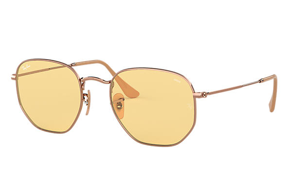 Ray-Ban Sunglasses HEXAGONAL WASHED EVOLVE Copper with Yellow Photochromic Evolve lens