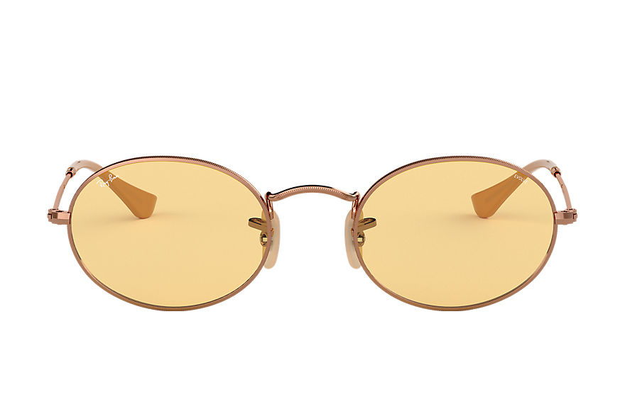 Ray-Ban Sunglasses OVAL WASHED EVOLVE Copper with Yellow Photochromic Evolve lens