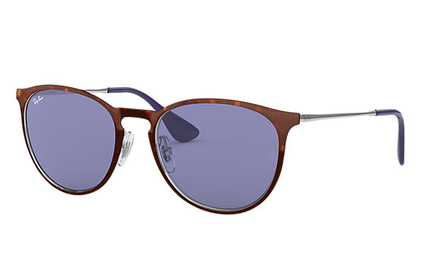 Ray-Ban Sunglasses ERIKA METAL Tortoise with Dark Violet Classic lens