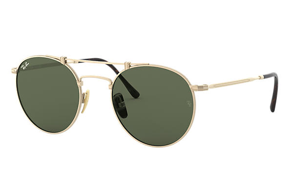 Ray-Ban ROUND TITANIUM White Gold with Green Classic lens