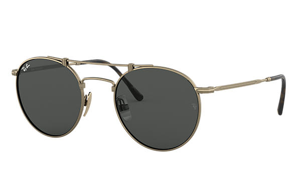 Ray-Ban 0RB8147-ROUND TITANIUM Antique Gold SUN
