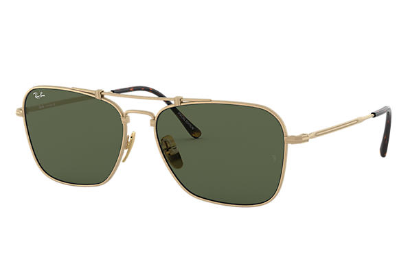 Ray-Ban Sunglasses CARAVAN TITANIUM White Gold with Green Classic lens