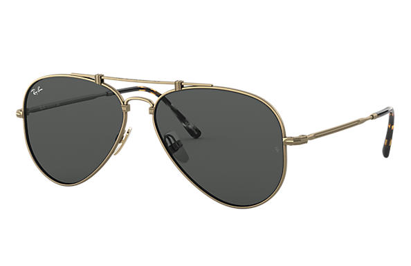 8a92e280d39342 Ray-Ban Aviator Titanium RB8125 Antique Gold - Titanium - Grijs ...