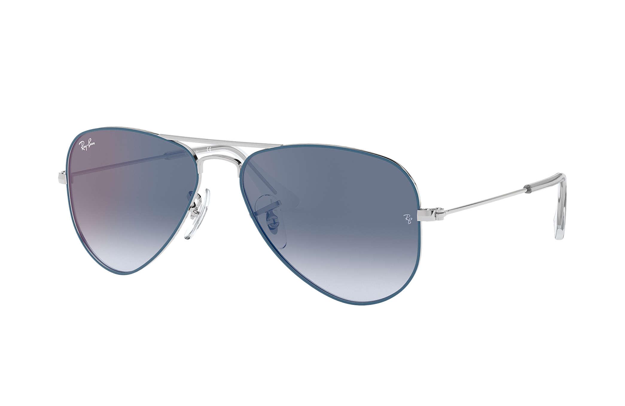 09c0fe7f4efa2 Ray-Ban Aviator Junior RB9506S Light Blue - Metal - Blue Lenses ...