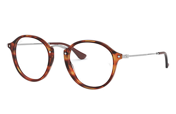 Ray-Ban 0RX2447V-ROUND FLECK Red Havana,Transparent; Silver OPTICAL