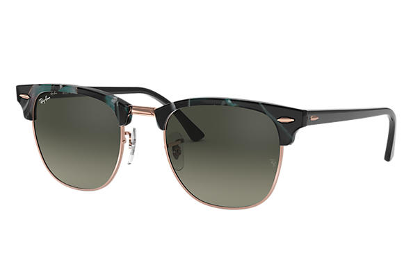 Ray-Ban 0RB3016F-CLUBMASTER FLECK LOW BRIDGE FIT Spotted Grey and Green,Tortoise; Black SUN