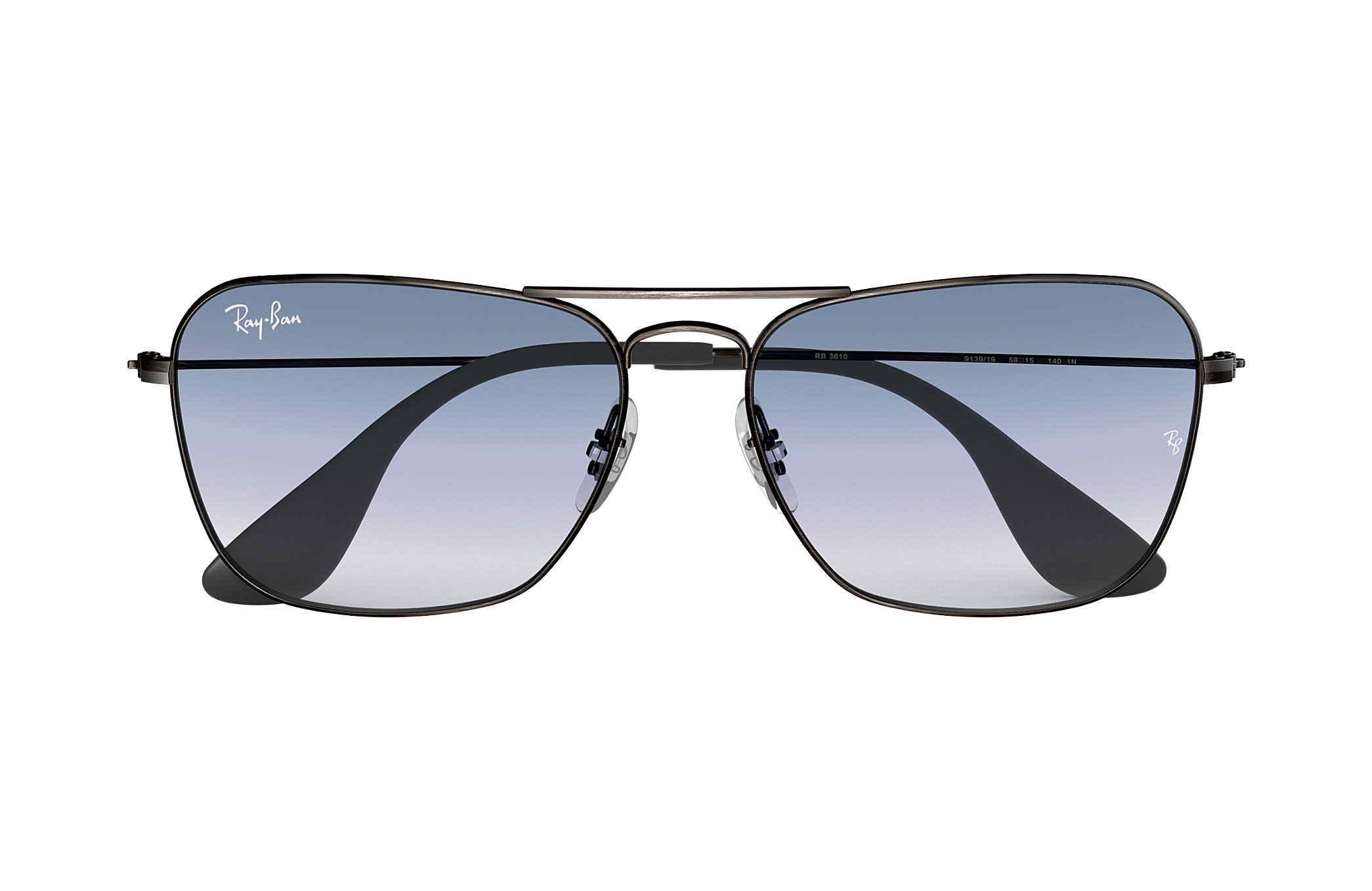 79e910111f Ray-Ban RB3610 Antique Black - Metal - Blue Lenses - 0RB361091391958 ...