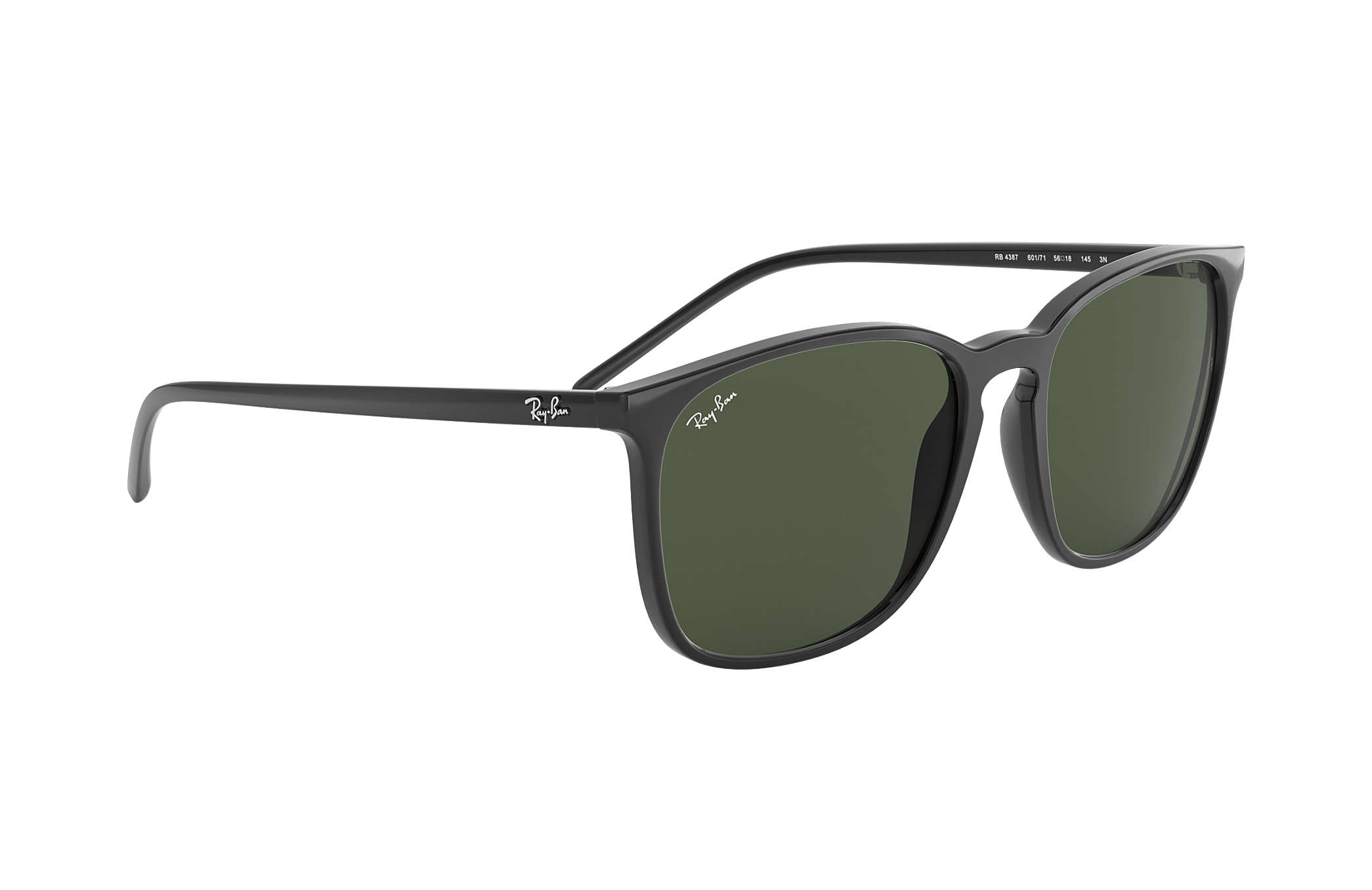bd3bf6d0ecdd3 Ray-Ban RB4387 Black - Nylon - Green Lenses - 0RB4387601 7156   Ray ...