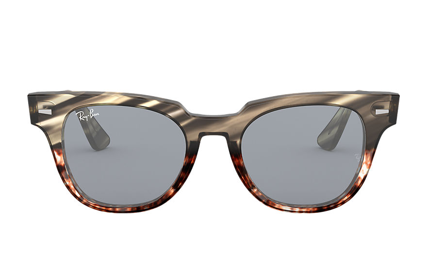 Ray-Ban METEOR STRIPED HAVANA Striped Grey Gradient Brown avec verres Bleu Washed