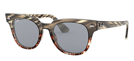 71ce0050464 Ray-Ban METEOR STRIPED HAVANA Striped Grey Gradient Brown with Blue Washed  lens
