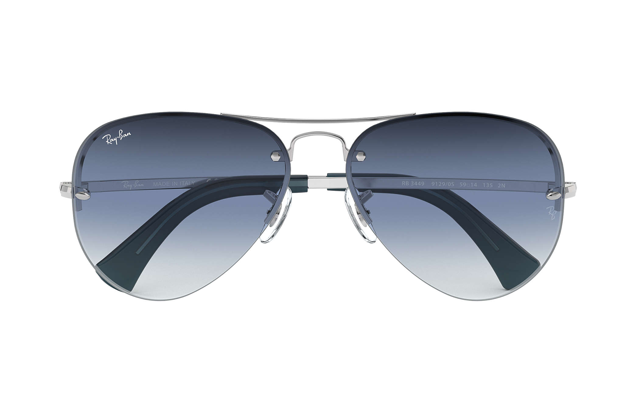 68996cc8d9554 Ray-Ban RB3449 Silver - Metal - Blue Lenses - 0RB344991290S59