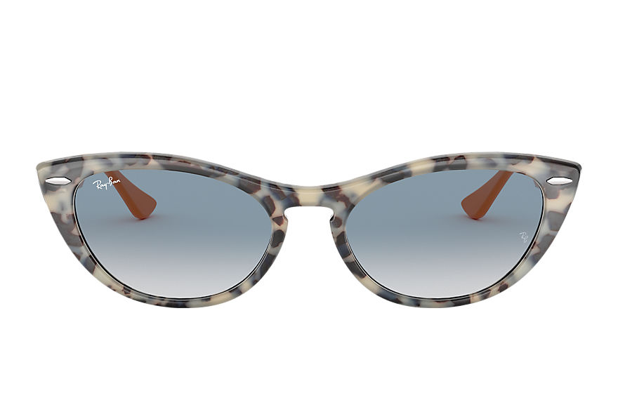Ray-Ban Sunglasses NINA KRAVIZ X RAY-BAN STUDIOS Beige Havana with Light Blue Gradient lens
