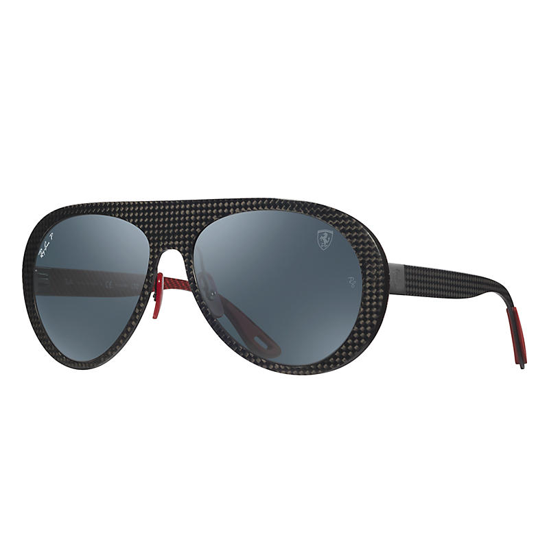Image of Ray-Ban Scuderia Ferrari Italy Limited Edition Gunmetal Sunglasses, Polarized Blue Lenses - Rb8321m