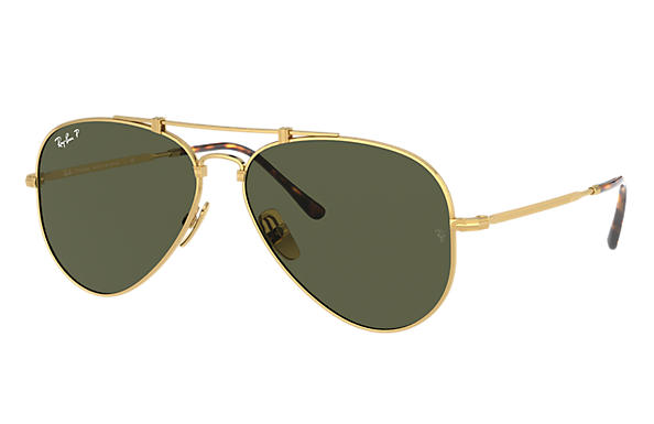 Ray-Ban Sunglasses AVIATOR TITANIUM Gold with Green Classic G-15 lens