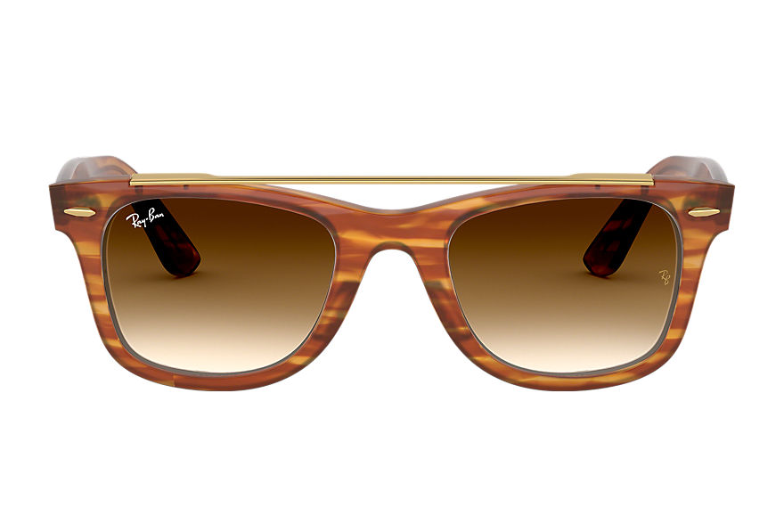Ray-Ban Sunglasses WAYFARER DOUBLE BRIDGE Striped Light Brown with Light Brown Gradient lens