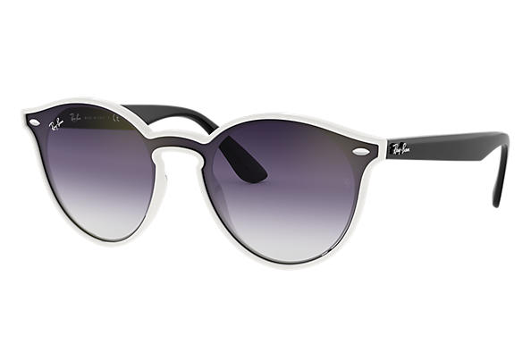 Ray-Ban Sunglasses BLAZE RB4380N White with Violet/Blue Gradient Mirror lens