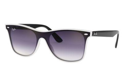 Comprar Ray-Ban Gafas-de-sol BLAZE WAYFARER Blanco con lente Violeta/Azul Degradada espejada