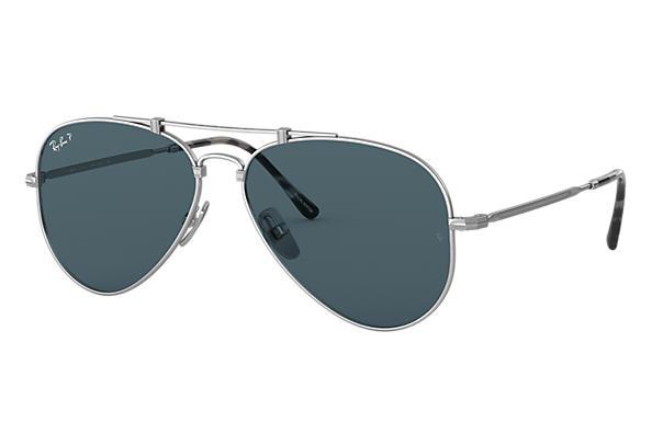 Ray ban Aviator 58 Occhiali Da Sole Matte Oro Blu