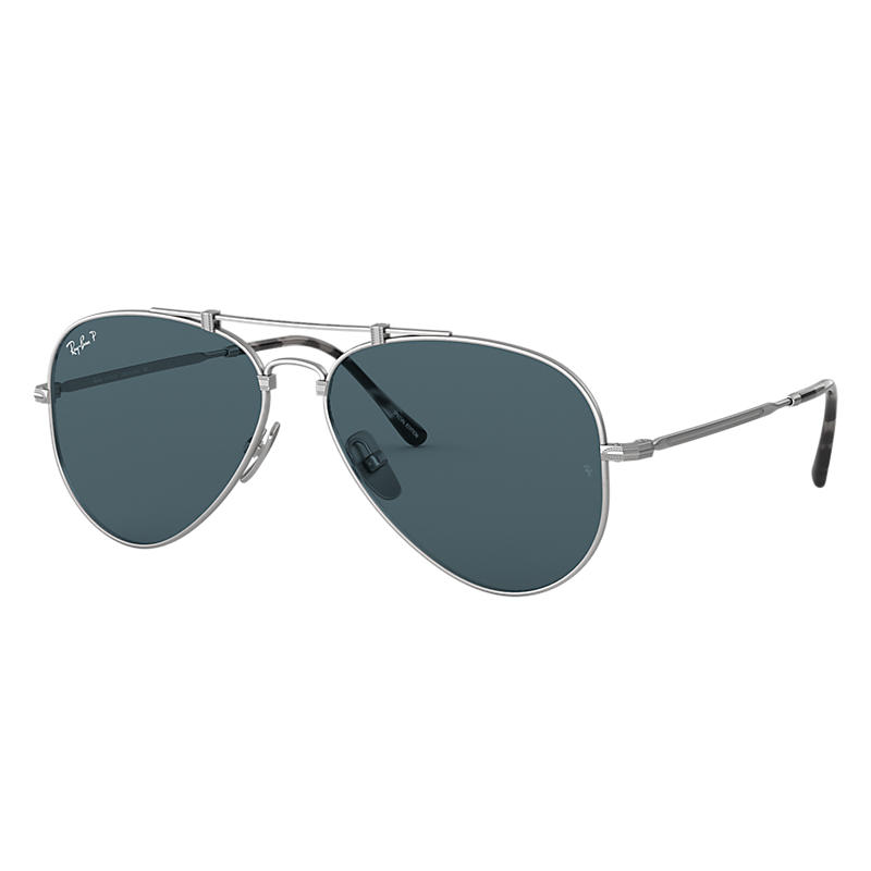 Image of Ray-Ban Aviator Titanium Matte silver Sunglasses, Polarized Blue Lenses - Rb8125m