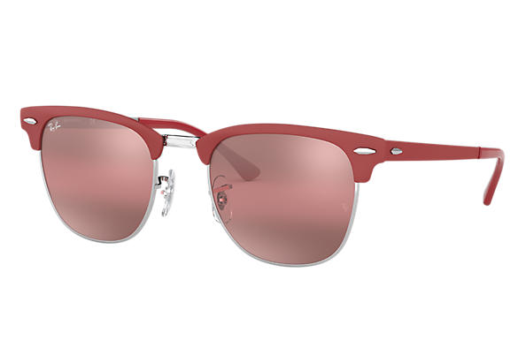 Ray-Ban Sunglasses CLUBMASTER METAL Bordeaux with Purple Gradient Mirror lens