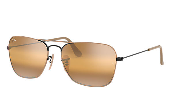 Ray-Ban Sunglasses CARAVAN Light Brown with Yellow Gradient Mirror lens