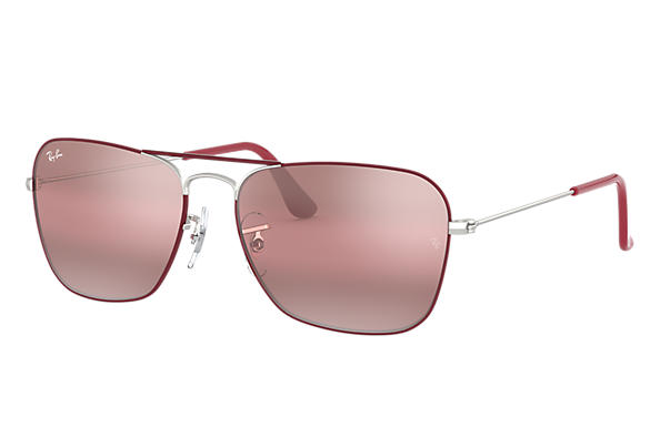 Ray-Ban Sunglasses CARAVAN Bordeaux with Purple Gradient Mirror lens