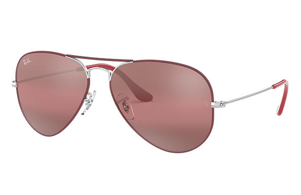 Ray-Ban 0RB3025-AVIATOR MIRROR Bordeaux; Zilver SUN