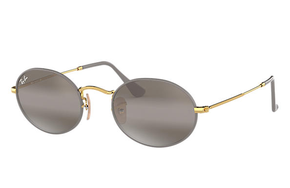 Ray-Ban 0RB3547-OVAL Grey,Gold; Gold SUN