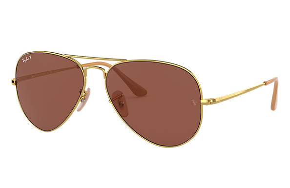 Ray-Ban Sunglasses RB3689 Gold with Purple Classic lens
