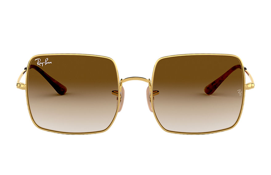 Ray-Ban Sunglasses SQUARE 1971 CLASSIC Polished Gold with Light Brown Gradient lens