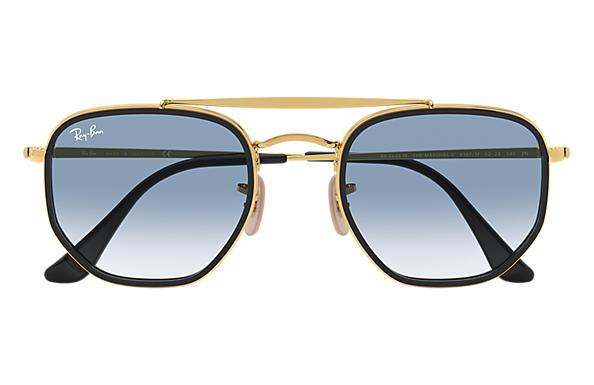 Dettagli su Occhiali da sole Ray Ban RB3648M Marshall oro Blu sfumato 91673F Originali
