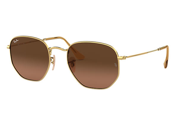 Ray-Ban Sonnenbrillen HEXAGONAL FLAT LENSES Gold mit Brown Gradient Gläsern