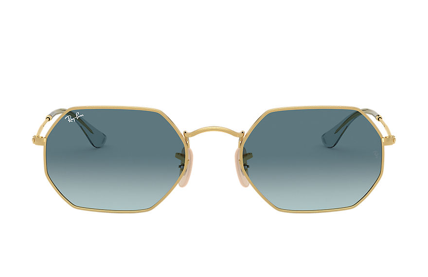 Ray-Ban Sunglasses OCTAGONAL CLASSIC Gold with Blue Gradient lens