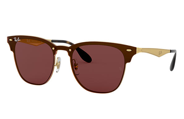 Ray-Ban Sunglasses BLAZE CLUBMASTER Gold with Brown Classic lens