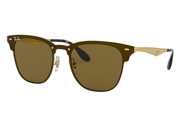 2acf131a25 Ray-Ban Blaze Clubmaster RB3576N Gold - Steel - Brown Lenses ...
