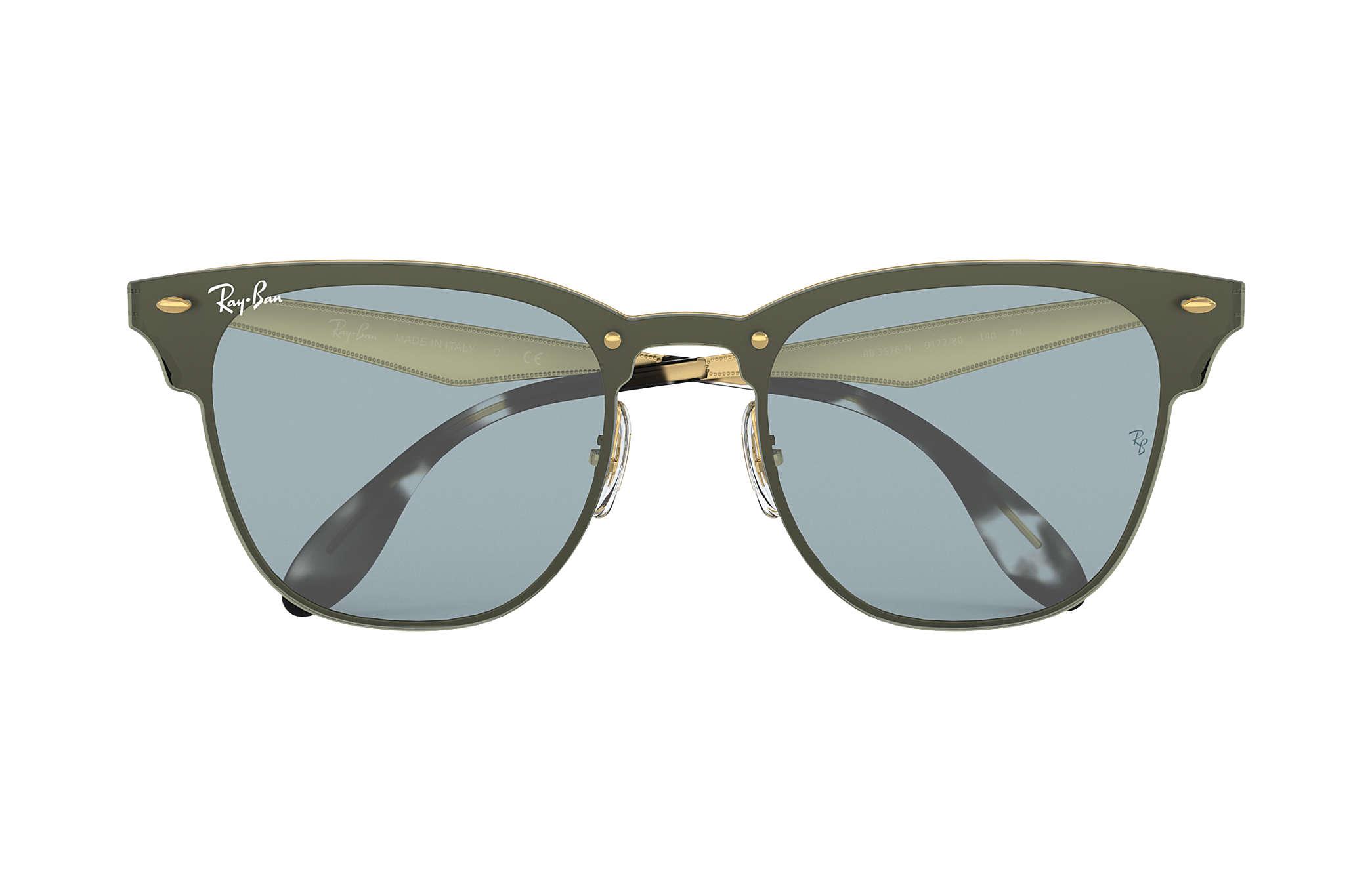 e24f6ae474 Ray-Ban Blaze Clubmaster RB3576N Gold - Steel - Blue Lenses ...