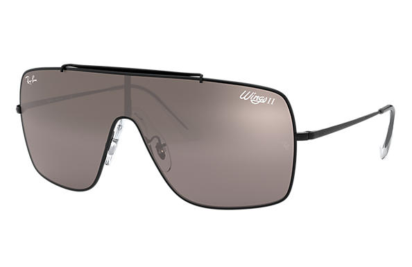 Ray-Ban Sunglasses WINGS II Black with Dark Violet/Silver Gradient Mirror lens