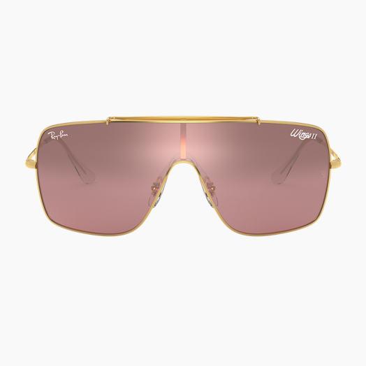 4f493dec8ab530 Ray-Ban WINGS II Gold mit Silber-Pink Verlauf verspiegelt Gläsern