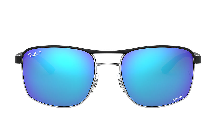 Ray-Ban Sunglasses RB3660 CHROMANCE Matte Black with Blue Mirror Chromance lens