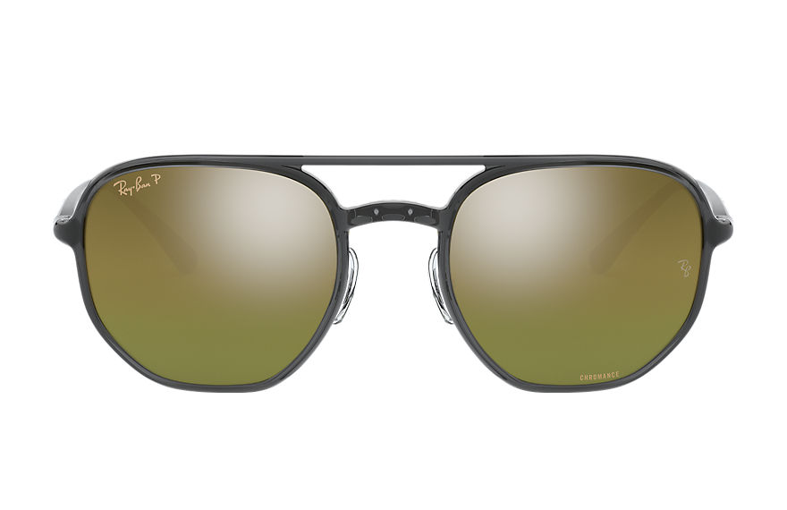 Ray-Ban Sunglasses RB4321 CHROMANCE Transparent Grey with Green Mirror Chromance lens