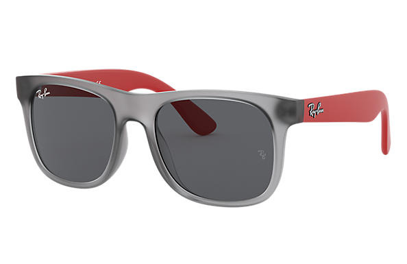 Ray-Ban 0RJ9069S-RJ9069S Transparent Grey,Gris; Rubber Red,Rouge SUN