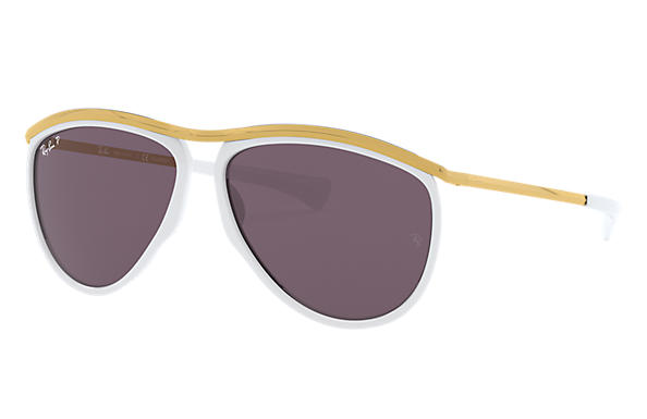 Ray-Ban Sunglasses AVIATOR OLYMPIAN White with Violet Gradient lens